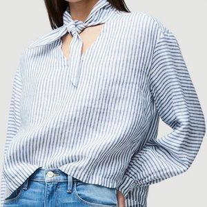 FRAME Handkerchief Striped Linen Top Sm Blue White